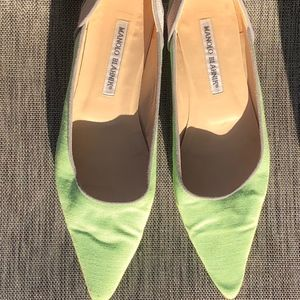 MANOLOBLAHNIK  linen/leather flats cutout Sz.39